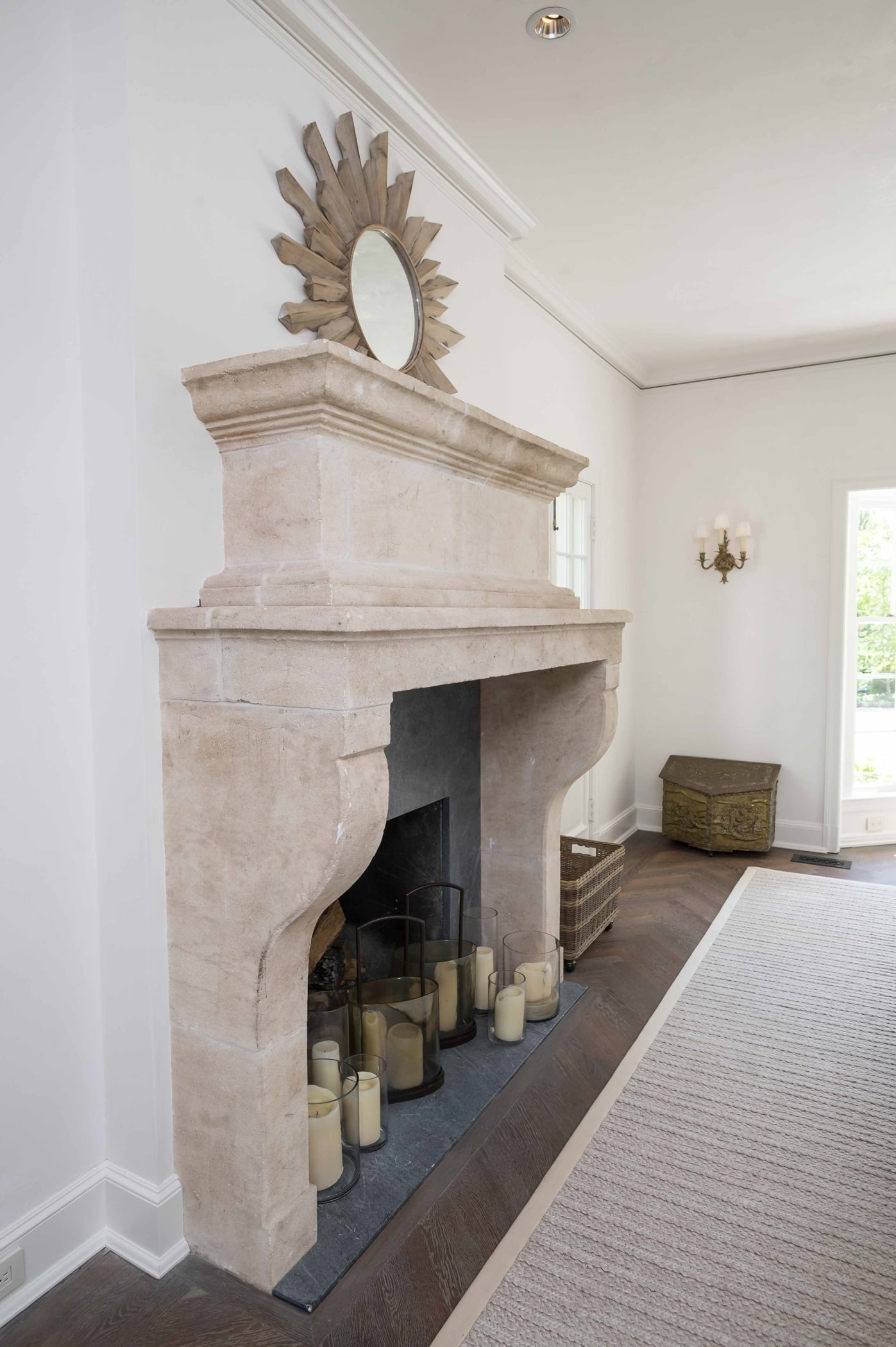 Decorative stone fireplace and sill