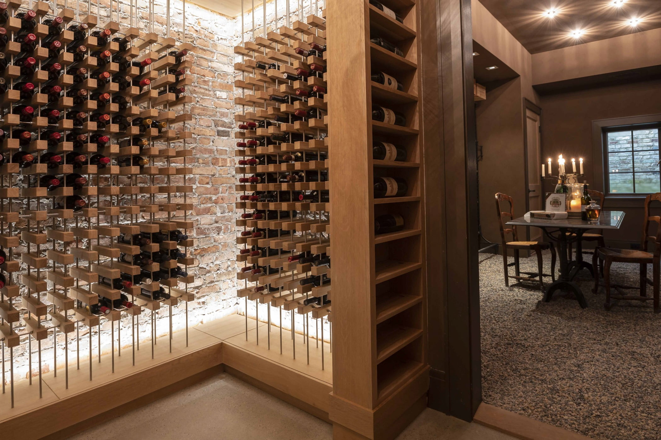 Custom wine cellar completed by Sunnyfields Cabinetry and Delbert Adams Construction Group (2)