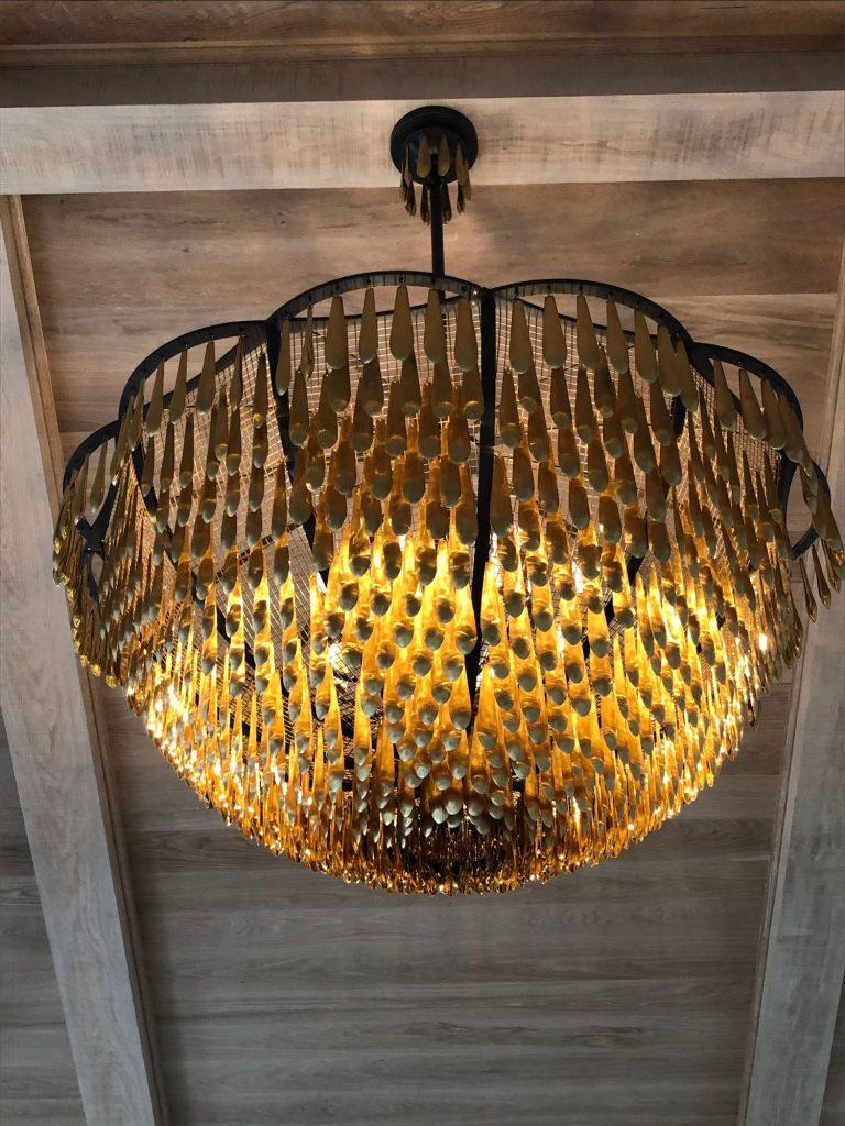 Custom orange gold scaly chandelier