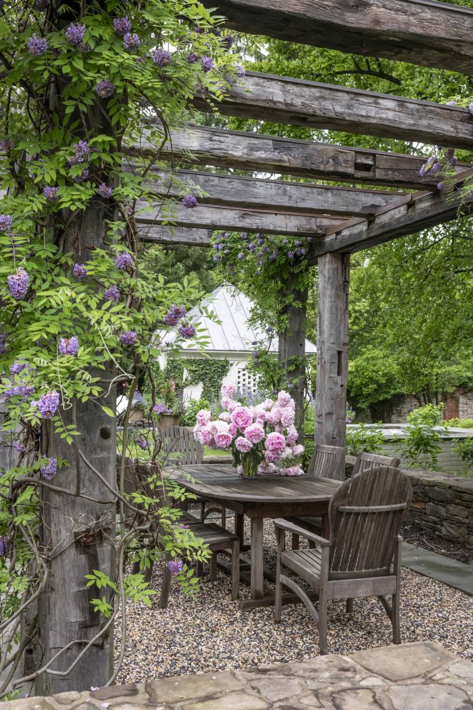 Outdoor garden with a pergola covered with wisteria and peonies on the table designed by DACG.
