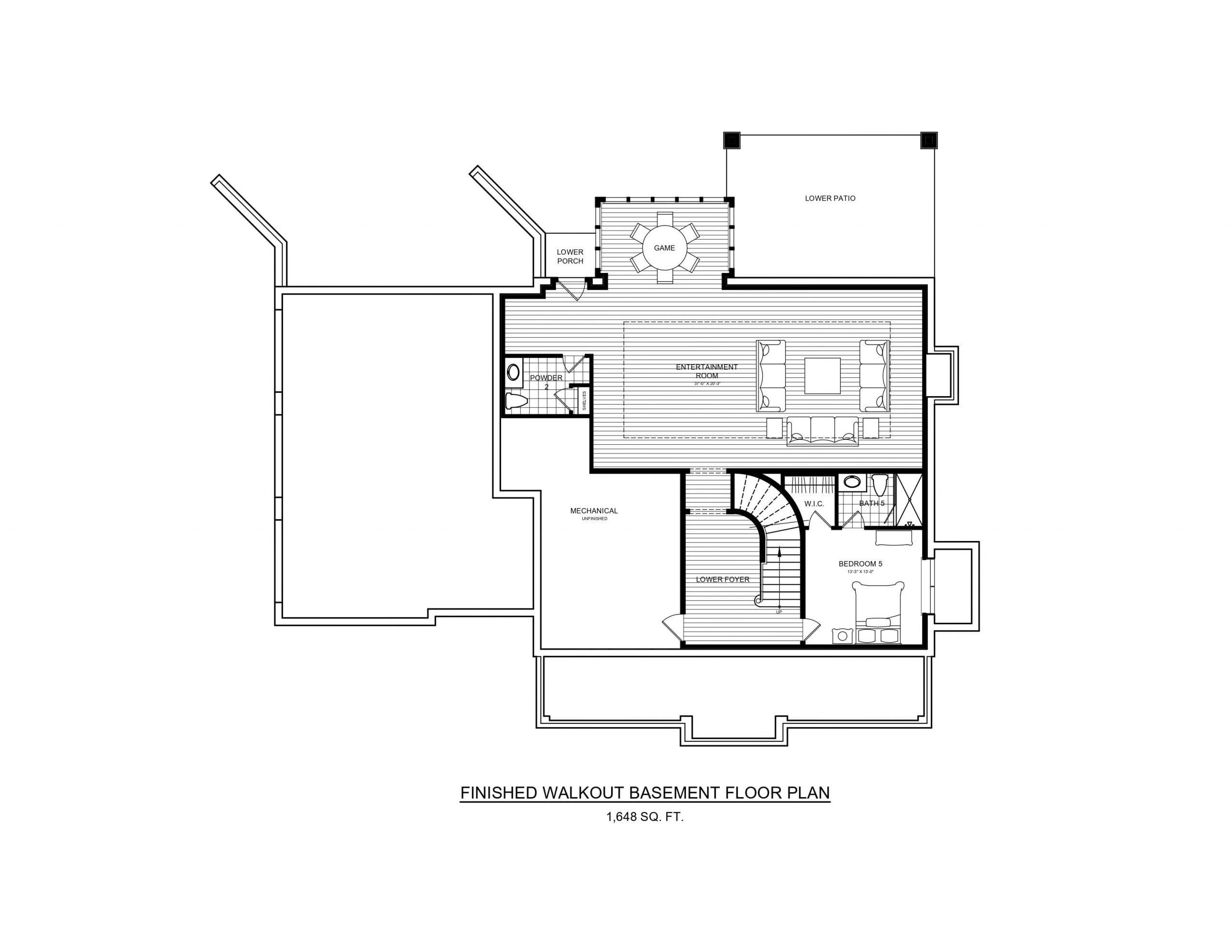 5 Wyndam Court - Finished walkout basement floor plan