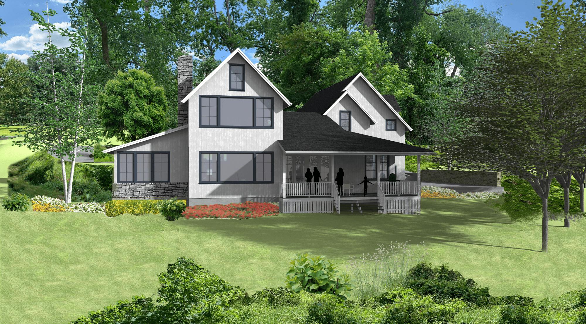 5 Wyndam Court - 3D model rendering back view