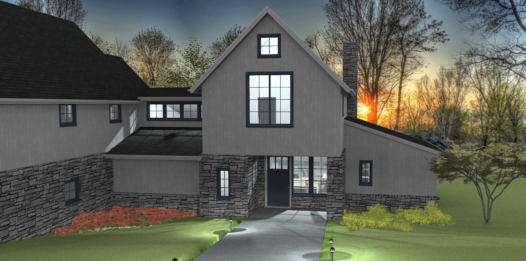 5 Wyndam Court - Farmhouse 3D model rendering at night