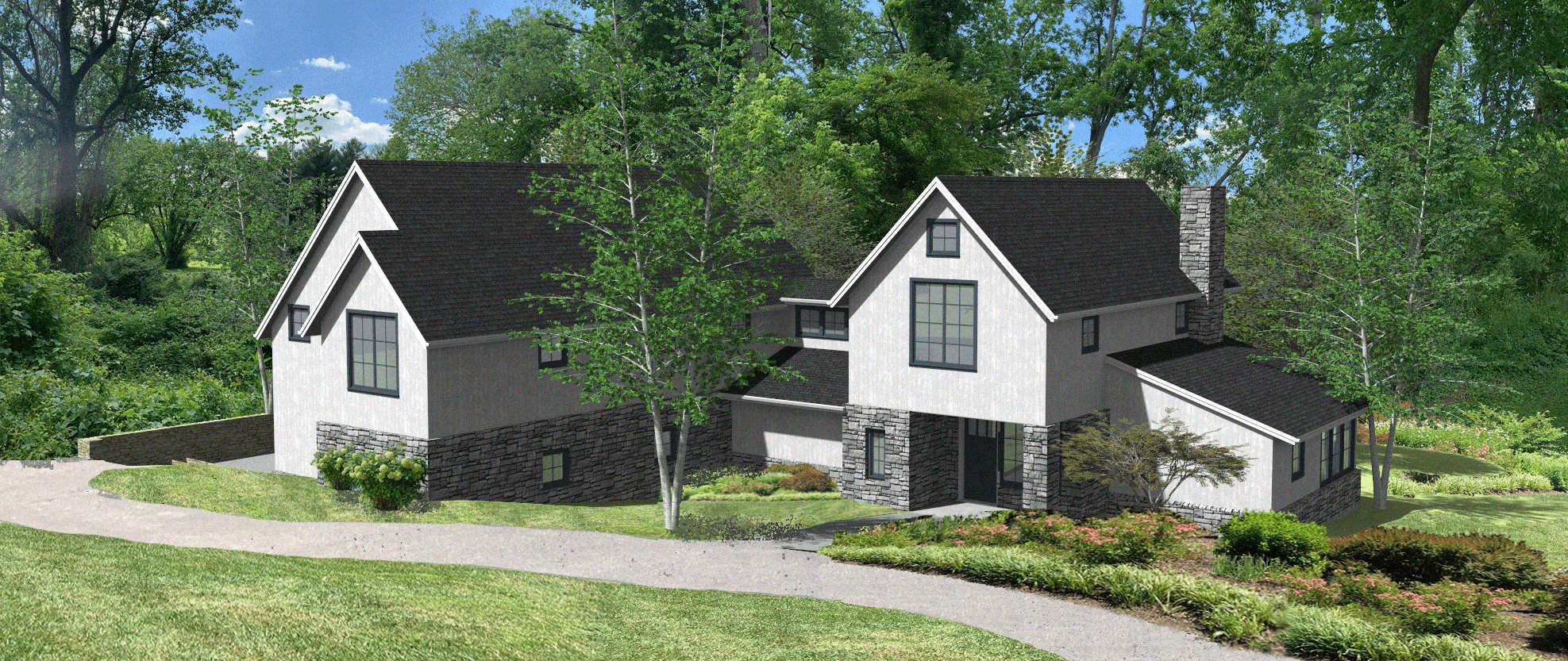 5 Wyndam Court - Farmhouse High res 3D rendering of front